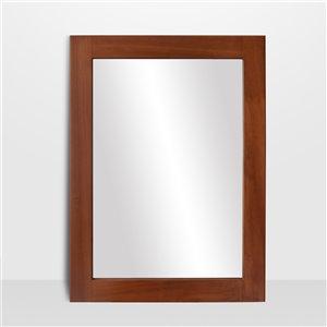 Miroir rectangulaire avec cadre Lusso de Hudson Home, 40po x 30po, noyer