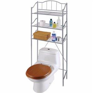 IH Casa Decor 10-in W x 67-in H x 11.5-in D Silver Metal Over the Toilet Etagere