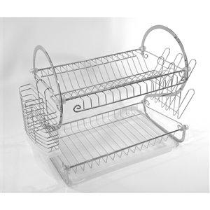 Égouttoir à vaisselle en métal par IH Casa Decor, 10-in W x 22-in L x 15.5-in H, argent