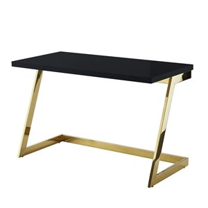 Inspired Home Oline Lacquer Writing Desk - Black/Gold