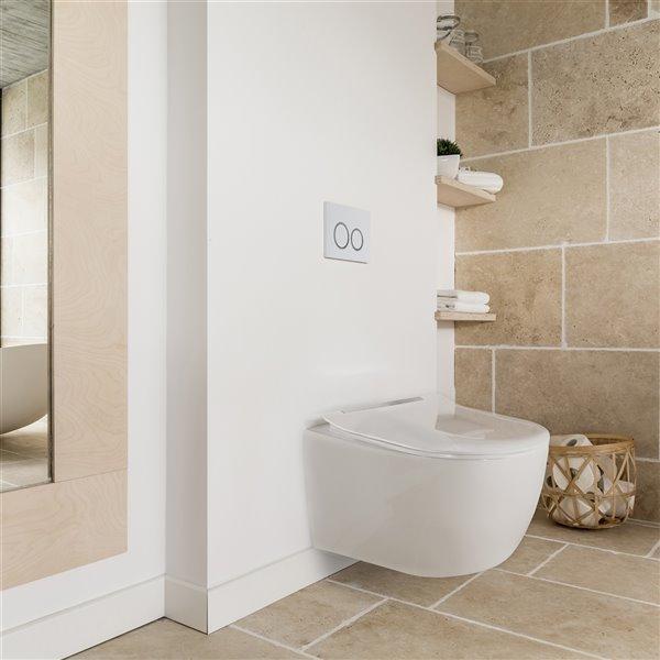 Toilette murale allongée à double chasse blanche Designer Series par Jade Bath, hauteur standard