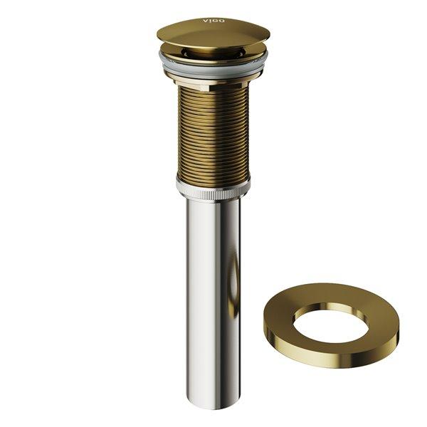 Drain de salle de bain avec bouton poussoir et anneau de montage de Vigo, noir mat
