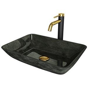 Évier de salle de bain rectangulaire en verre Onyx de Vigo, robinet et drain inclus, 17,88 po x 13 po, gris