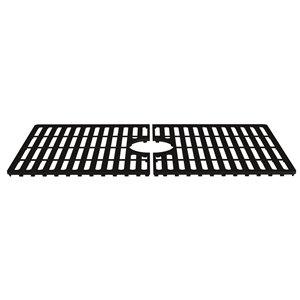 Grille de fond d'évier de cuisine en silicone de Vigo, 27 po x 15 po, noir mat