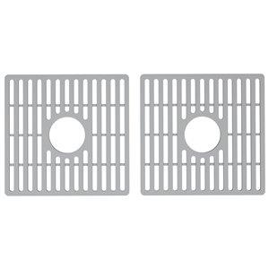 Grille double de fond d'évier de cuisine en silicone de Vigo, 15,13 po x 14,75 po, gris