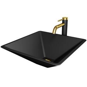 Évier de salle de bain carré en verre Serato de Vigo, robinet et drain inclus, 15,75 po x 15,75 po, noir