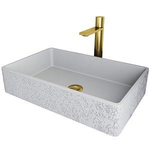 Évier de salle de bain rectangulaire en pierre Dahlia de Vigo, robinet et drain inclus, 13,88 po x 21,25 po, cendre