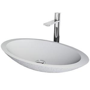 Évier de salle de bain ovale en pierre Yarrow de Vigo, robinet et drain inclus, 13,38 po x 23,13 po, cendre