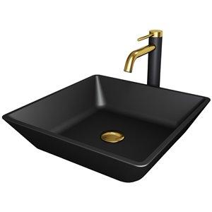 Évier de salle de bain en verre Roma de Vigo, robinet et drain inclus, 15,75 po x 15,75 po, noir