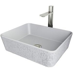 Évier de salle de bain rectangulaire en pierre Zinnia de Vigo, robinet et drain inclus, 14,38 po x 17,75 po, cendre