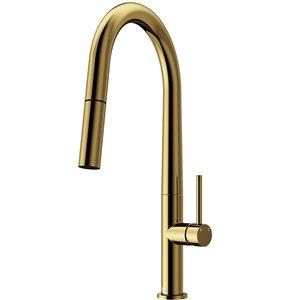 Vigo Greenwich 1-handle Deck Mount Pull-Down Handle/Lever Commercial/Residential Kitchen Faucet, Matte Gold