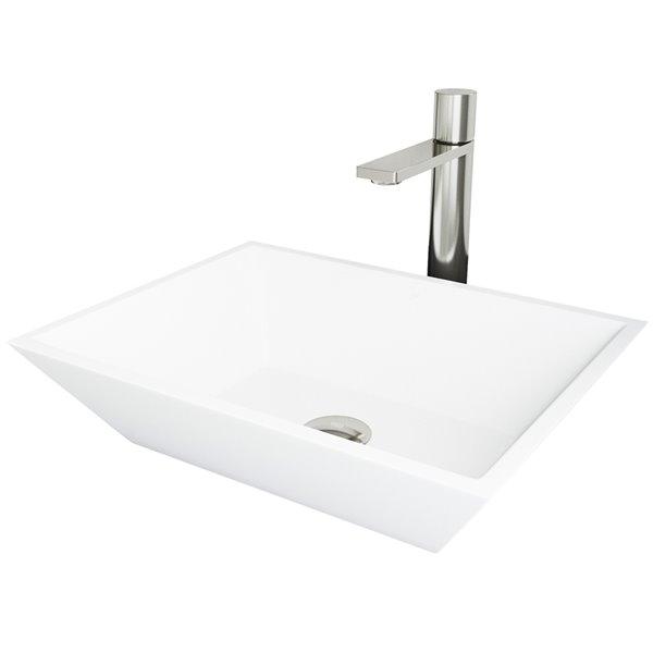 Évier de salle de bain rectangulaire en pierre Vinca de Vigo, robinet et drain inclus, 13,75 po x 18 po, blanc mac