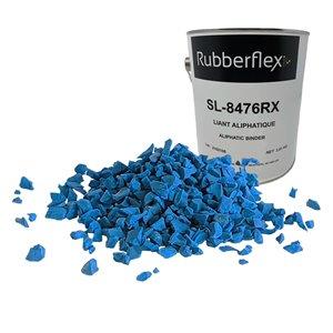 Ensemble de granules de caoutchouc et de liant aliphatique de Rubberflex, 40 pi2, bleu arc-en-ciel
