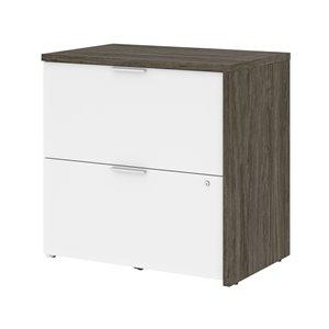 Classeur Gemma à deux tiroirs de Bestar, gris boisé et blanc