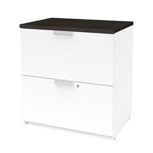 Classeur Pro-Concept Plus à deux tiroirs de Bestar, blanc et gris profond