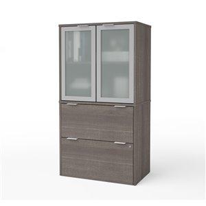 Classeur i3 Plus à deux tiroirs et deux portes de Bestar, gris écorce