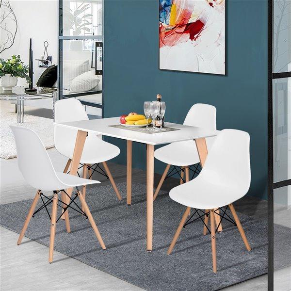 Table de salle à manger rectangulaire en bois naturel et composite Rookie de FurnitureR, 47,2 po, blanc