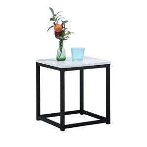 FurnitureR Facto Composite Square End Table - Marble White