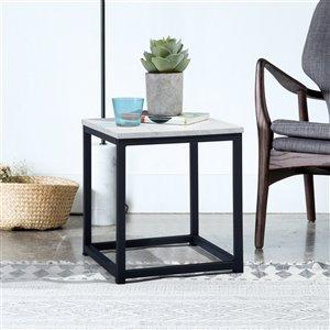 Table d'appoint carrée en composite Facto de FurnitureR, marbre blanc