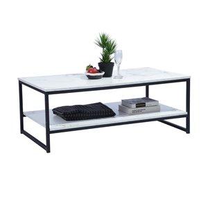 Table en composite avec étagères Facto de FurnitureR, placage de marbre, blanc
