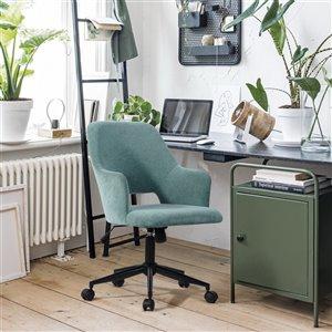 Chaise de bureau ergonomique pivotante contemporaine Boga de FurnitureR avec hauteur ajustable, sarcelle