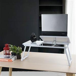 Table pliante en composite pour ordinateur portable Mamie de FurnitureR, 25,5 po x 10,8 po, blanc