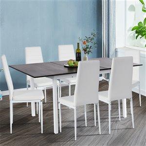 Table de salle à manger rectangulaire et extensible en composite/métal Bari de FurnitureR, 47,2 po à 63 po, brun foncé