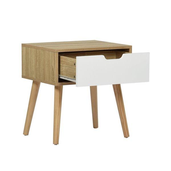 Table d'appoint rectangulaire en composite avec 1 tiroir Gessey de FurnitureR, chêne/blanc
