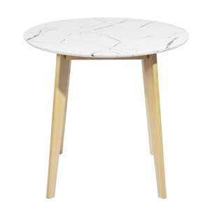 FurnitureR Currency Composite/Natural Wood Round Dining Table - 31.5-in - White
