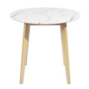 Table de salle à manger ronde en composite et bois naturel Currency de FurnitureR, 31,5 po, blanc