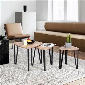 Table basse gigogne en chêne/composite Kauwhata de FurnitureR, 3 pièces