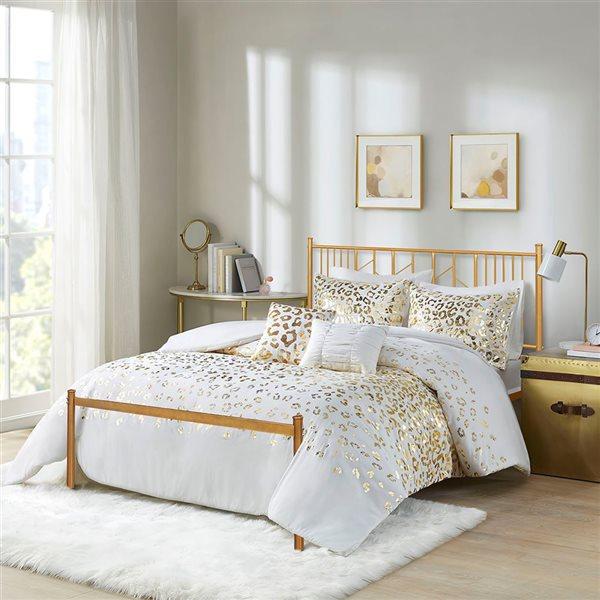 FurnitureR Miye Full-Size Bed Frame - Gold