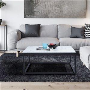 Table basse en composite Facto de FurnitureR, placage de marbre, blanc