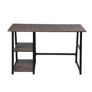 Table/bureau avec 2 étagères en composite McGhee de FurnitureR, 47,2 po x 29,1 po, brun foncé