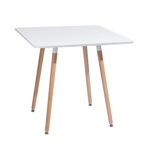 FurnitureR Rookie Composite and Beech Square Dining Table - 31.5-in - White