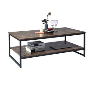 Table basse en composite avec tablettes Facto de FurnitureR, brun
