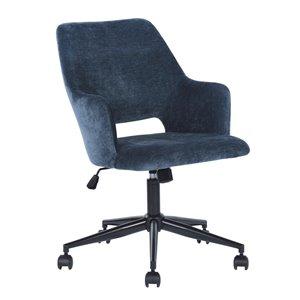 FurnitureR Boga Contemporary Swivel Task Chair with Adjustable Height - Dark Blue