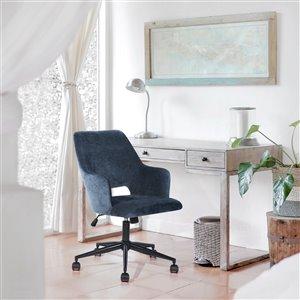 Chaise de bureau pivotante contemporaine Boga de FurnitureR avec hauteur ajustable, bleu foncé