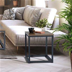 Table d'appoint carrée en composite Facto de FurnitureR, brun foncé