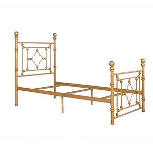 FurnitureR Rayjon Twin-Size Bed Frame - Gold