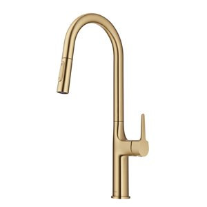 Kraus Oletto Brushed Gold 1-Handle Deck Mount Pull-Down Handle/Lever Residential Kitchen Faucet - Deck Plate Included