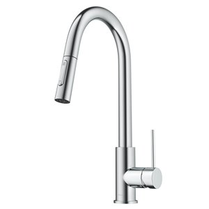 Kraus Oletto Chrome Single Handle Deck mount Pull-Down Handle/Lever Residential Kitchen Faucet - Deck Plate Included