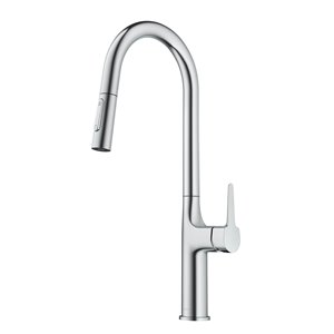 Kraus Oletto Chrome 1-Handle Deck Mount Pull-Down Handle/Lever Residential Kitchen Faucet - Deck Plate Included