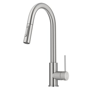 Kraus Oletto Spot Free Stainless Steel Single Handle Deck Mount Pull-Down Handle/Lever Kitchen Faucet - Deck Plate Included
