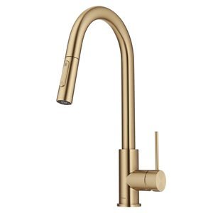 Kraus Oletto Brushed Gold Single Handle Deck Mount Pull-Down Handle/Lever Residential Kitchen Faucet - Deck Plate Included