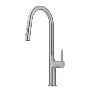 Kraus Oletto Spot Free Stainless Steel 1-Handle Deck Mount Pull-Down Handle/Lever Kitchen Faucet - Deck Plate Included