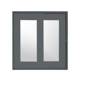 Luxo Marbre Classic Rectangular Medicine Cabinet with Sliding Mirror, 24-in x 25.25-in, Lacquered Light Grey
