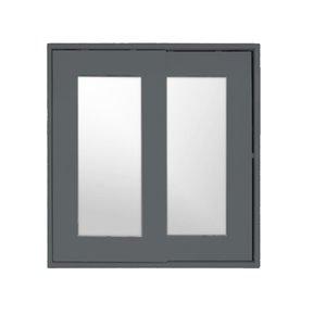 Pharmacie Classic rectangulaire de Luxo Marbre à miroir coulissant, 24 po x 25,25 po, gris pâle laqué