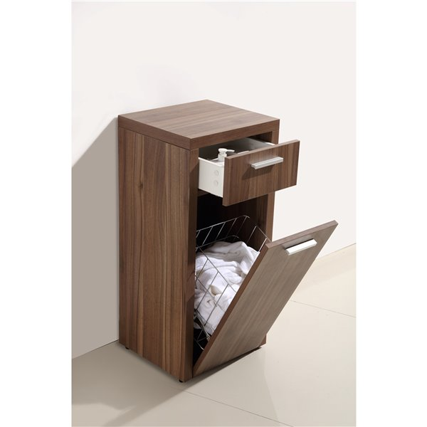 Luxo Marbre Relax Particleboard Cabinet Banks, with 1 Door and 1 Drawer, 13.75-in W x 33.5-in H x 15.75-in D, Walnut