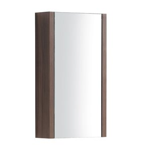 Luxo Marbre Relax Rectangular Medicine Cabinet with Single Mirror, 17.75-in x 31.5-in, Walnut